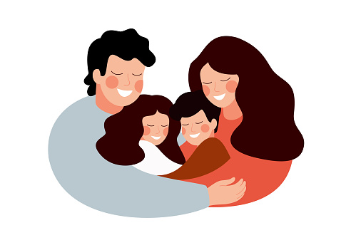 Parents and children embracing together and smile clipart