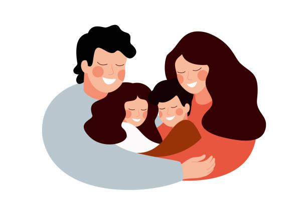ilustraciones, imágenes clip art, dibujos animados e iconos de stock de padres e hijos abrazando juntos y sonríen - hija