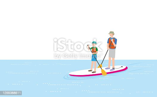 Parents and children enjoying a stand-up paddle board