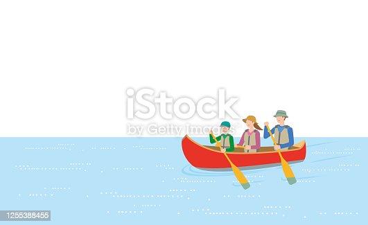 istock Parents and children enjoying canoeing 1255388455