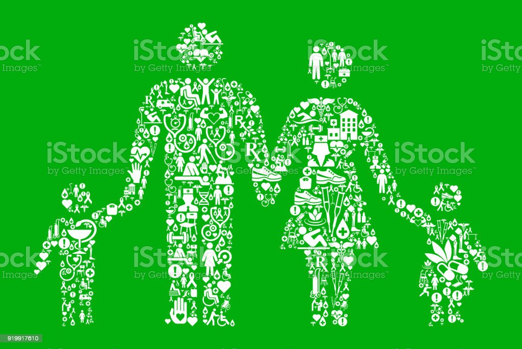 Parents and Children Green Medical Rehabilitation Physical Therapy vector art illustration
