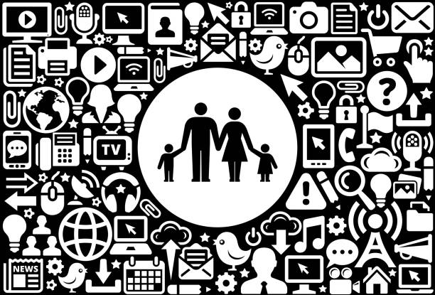 ilustrações de stock, clip art, desenhos animados e ícones de parents and children icon black and white internet technology background - tv e familia e ecrã