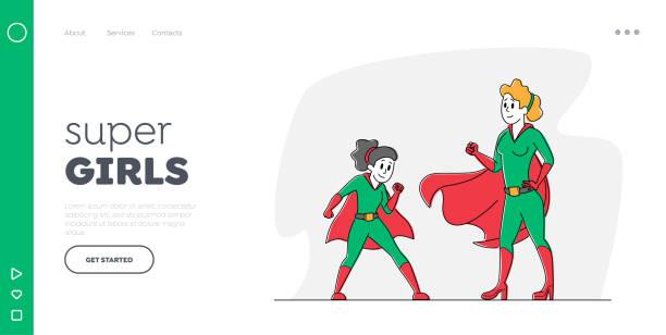 親子関係のランディング ページ テンプレートスーパーヒーローの衣装を着た家族の母と娘のキャラクター - シングルマザー点のイラスト素材/クリップアート素材/マンガ素材/アイコン素材