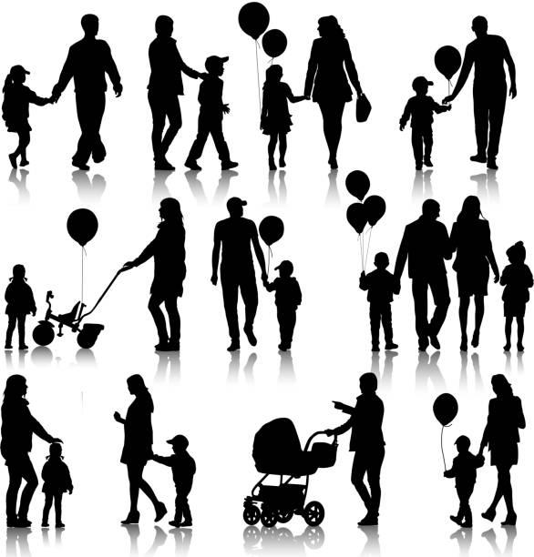 부모 및 어린이 - 가정 물건 실루엣 stock illustrations