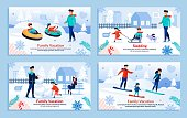 Cartoon Parents and Children Playing, Making Snowballs for Snowman, Skating, Having Fun with Dog. Winter Activities. Vacation, Outdoors Sports. New Year, Xmas. Banner Set. Vector Flat Illustration