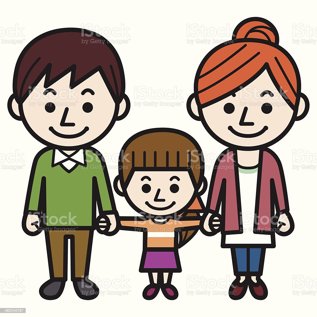 Parents and daughter vector art illustration