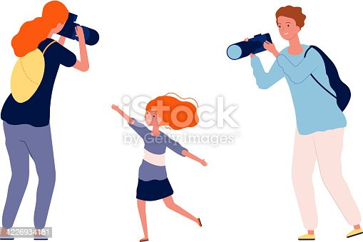 istock Parents and kid. Mother and father making photo their child. Happy family time, cute baby girl vector illustration 1226934181