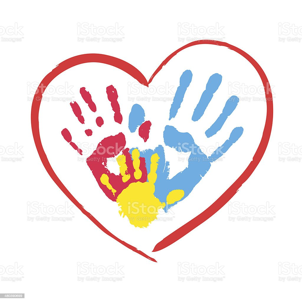 Parent's and kid's hands in a heart vector art illustration
