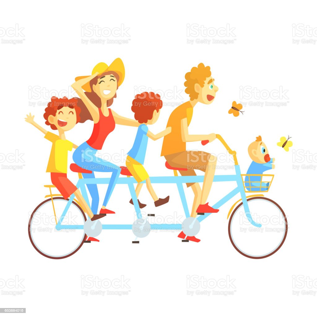 Parents And Kids On Triple Seat Bicycle Riding Outdoors In Summer, Happy Loving Families With Kids Spending Weekend Together Vector Illustration vector art illustration