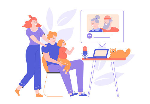 Parents and little daughter call grandparents from a laptop. Online chat, video call, remote communication with relatives. Family together. Quarantine and self-isolation. Vector flat.