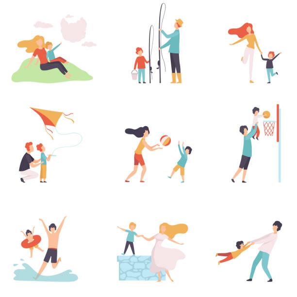 親子が一緒に楽しい時間を過ごすセット、ハッピーファミリー夏の野外活動ベクトルイラスト - 親子点のイラスト素材/クリップアート素材/マンガ素材/アイコン素材