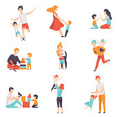 Parents and their kids having good time together set, Mom and Dad playing, doing sports, having fun with their children vector Illustrations on a white background.