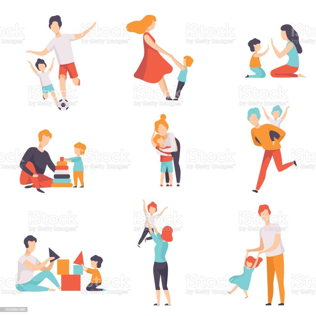 Eltern und ihre Kinder schon gut Zeit zusammen gesetzt, Mama und Papa spielen, Sport, Spaß mit ihren Kindern Vektor Illustrationen auf einem weißen Hintergrund. – Vektorgrafik