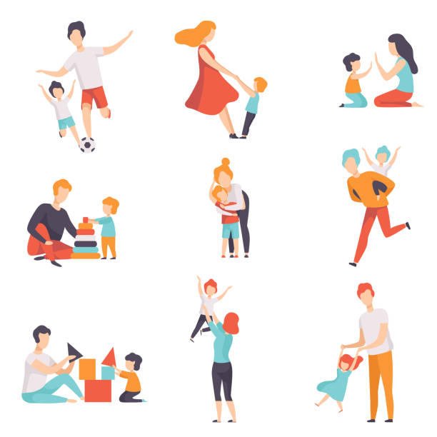 parents and their kids having good time together set, mom and dad playing, doing sports, having fun with their children vector illustrations on a white background. - happy family stock illustrations