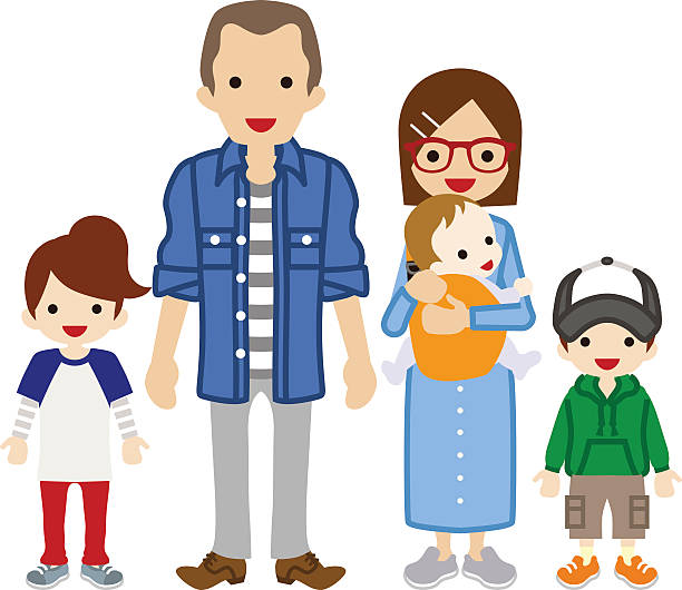 Royalty Free Family With Three Children Clip Art, Vector ...