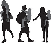 Vector silhouettes of parents carrying kids.