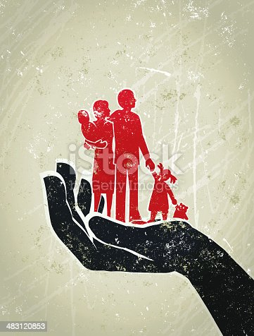 A Helping hand! A stylized vector cartoon of a giant hand and a Family. Suggesting  - love, family unit,insurance, protection, safety, Home or a helping hand. House, Family, Tint., paper texture and background are on different layers for easy editing. Please note: This is an eps10 illustration. Multiply transparency used on layer Tint and shadow, clipping paths have been also been used, an eps 8 version is included without the path and transparency.