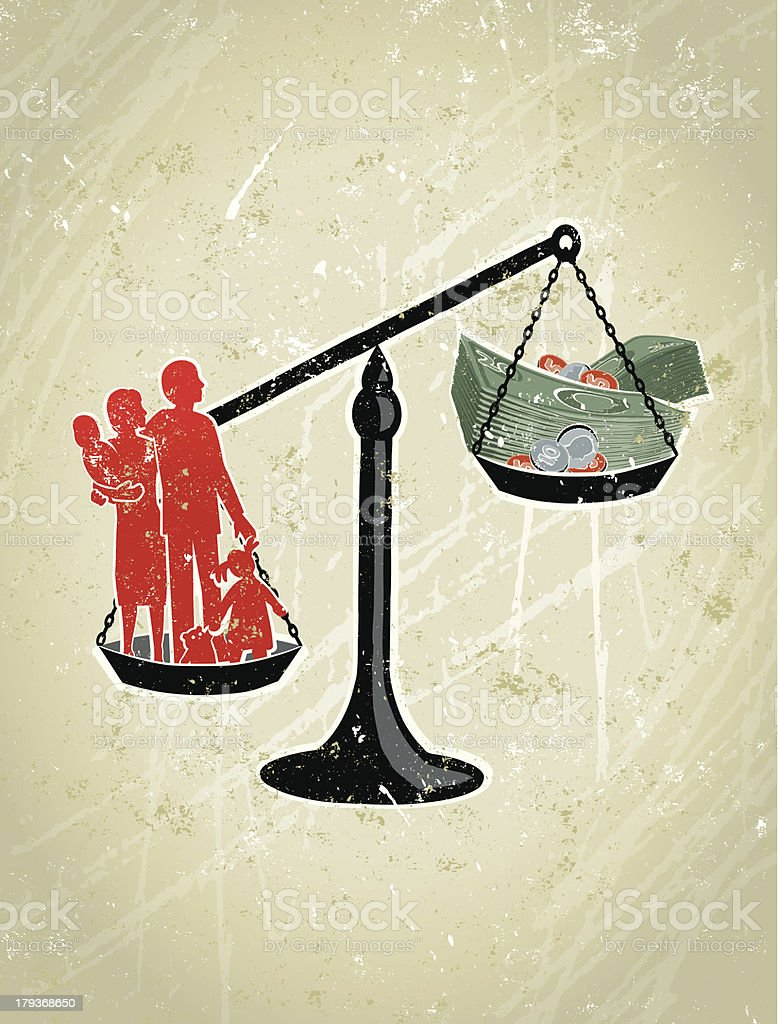 Parents, Children Weighed on Giant Scales Against Money vector art illustration