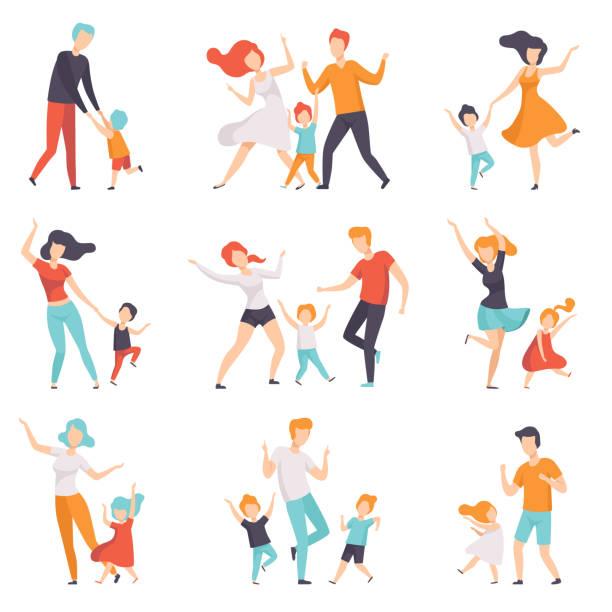 ilustraciones, imágenes clip art, dibujos animados e iconos de stock de los padres bailando con su sistema de los niños, los niños pasar buen rato con sus papás y mamás vector ilustraciones sobre un fondo blanco - hijo