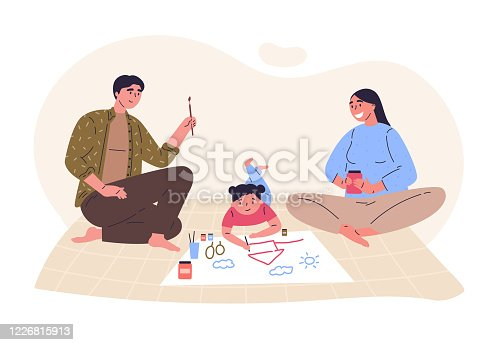 istock Parents draw picture with their daughter 1226815913