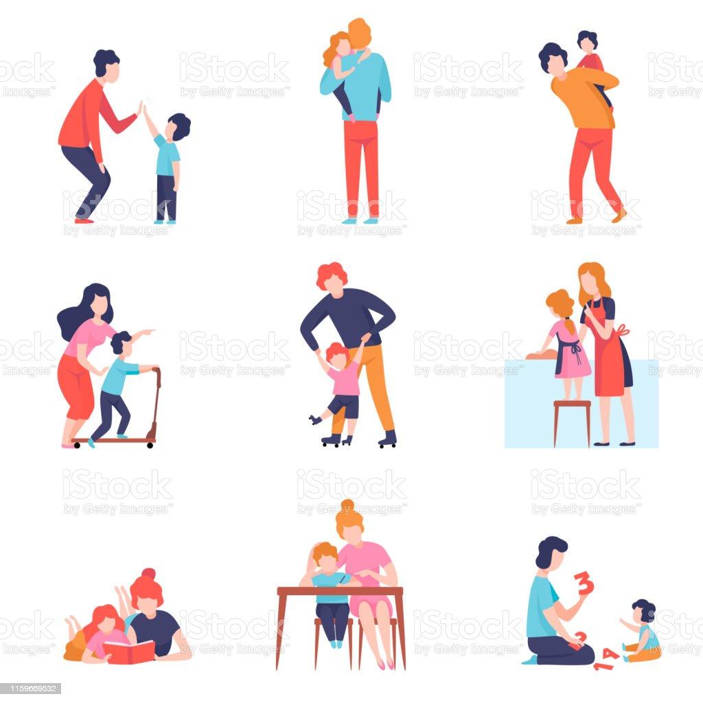 부모 데 좋은 시간 와 아이 세트, 어머니와 아버지 가르치고 재생 와 아들과 딸 벡터 일러스트 - 로열티 프리 가정 주방 벡터 아트