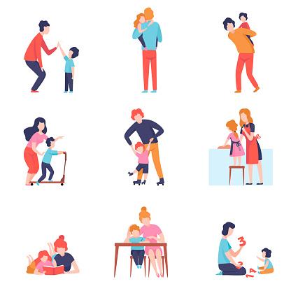 부모 데 좋은 시간 와 아이 세트 어머니와 아버지 가르치고 재생 와 아들과 딸 벡터 일러스트 가정 주방에 대한 스톡 벡터 아트 및 기타 이미지