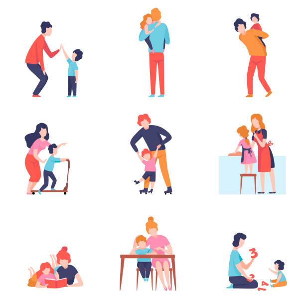 illustrazioni stock, clip art, cartoni animati e icone di tendenza di parents having good time with kids set, mother and father teaching and playing with sons and daughters vector illustration - family home