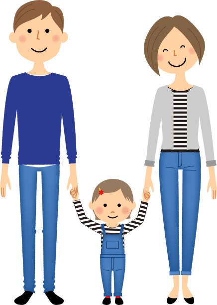 親が手を繋いでいます。 - 家族 日本人点のイラスト素材/クリップアート素材/マンガ素材/アイコン素材