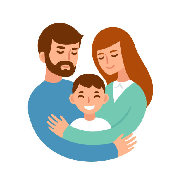Parents hugging child Mom and dad hugging their son. Happy parents and child in loving family. Cute cartoon characters vector illustration. parenting stock illustrations