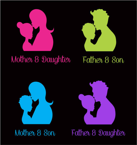 Parents hugging their children vector art illustration