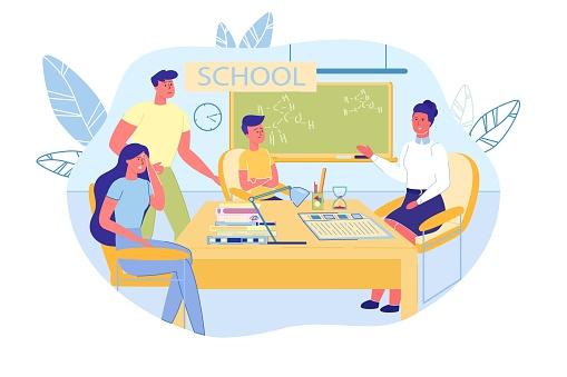 Parents, Kid and Teacher at PTA Meeting in School