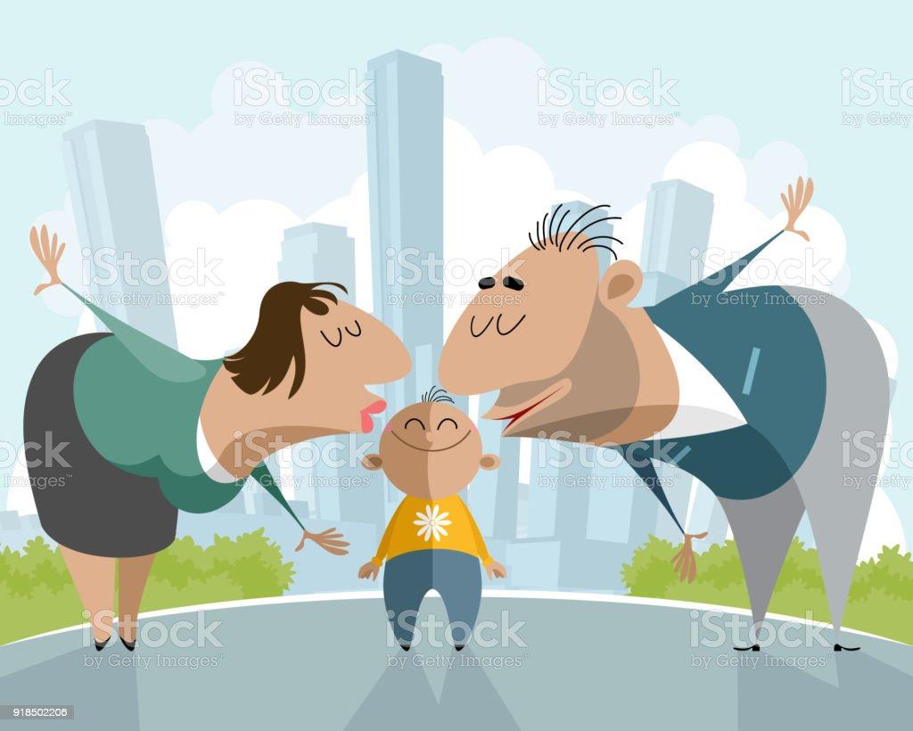 Parents kissing a child vector art illustration