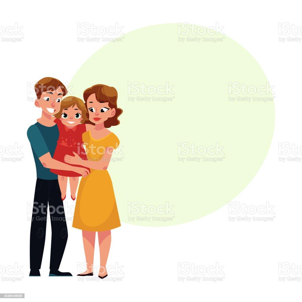 Eltern Mama Und Papa Töchterchen Liebevolle Familienporträt Holding ...