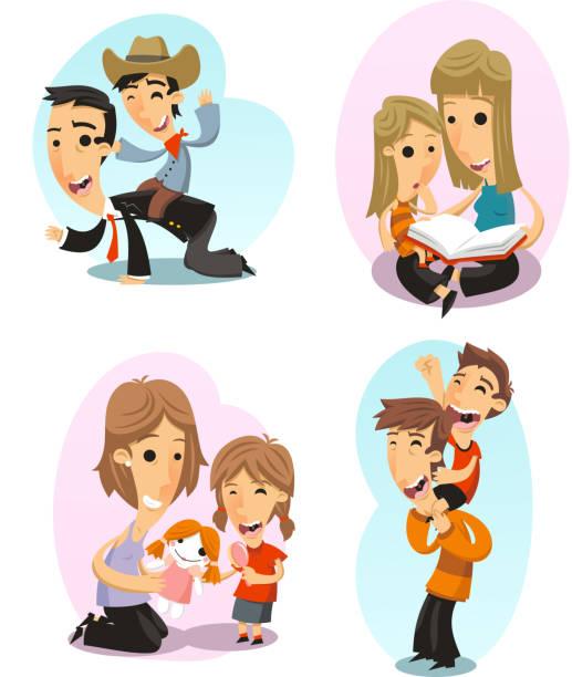 Eltern Mutter Vater & Kinder Zeit – Vektorgrafik