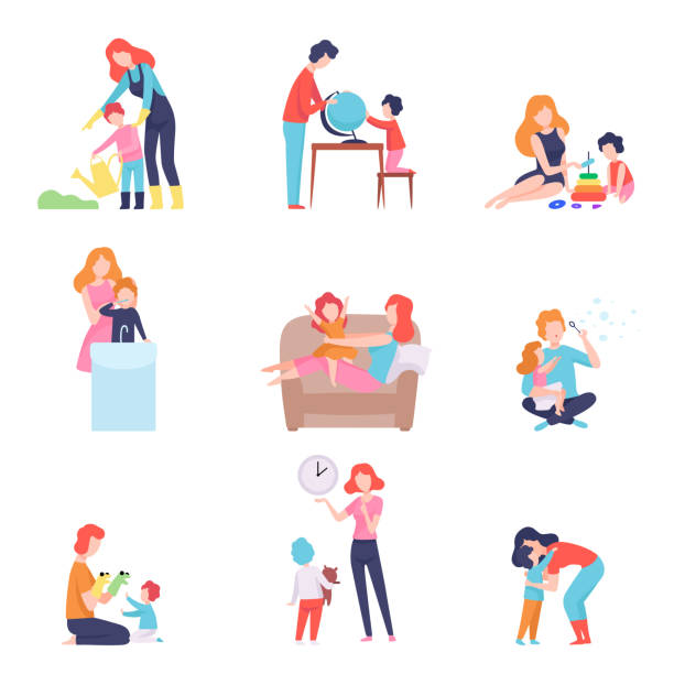 parents spending time with kids set, mother and father teaching and playing with sons and daughters vector illustration - kukiełka stock illustrations