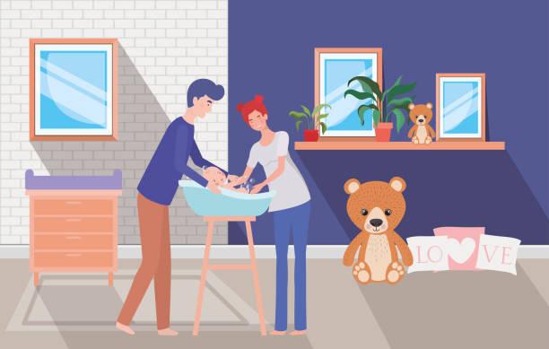 bildbanksillustrationer, clip art samt tecknat material och ikoner med föräldrar tar hand om nyfödda barn med bad - baby bathtub