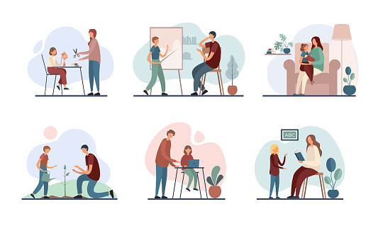 Parents teaching children at home. Set of flat vector illustrations
