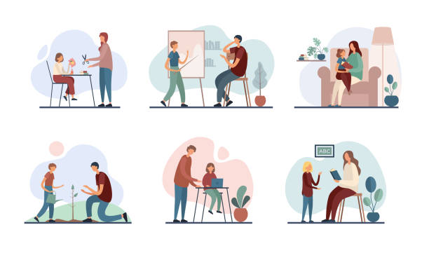 Parents teaching children at home. Set of flat vector illustrations Set of vector illustrations with modern mothers and fathers tutoring little sons and daughters while performing family education program at home preparation illustrations stock illustrations