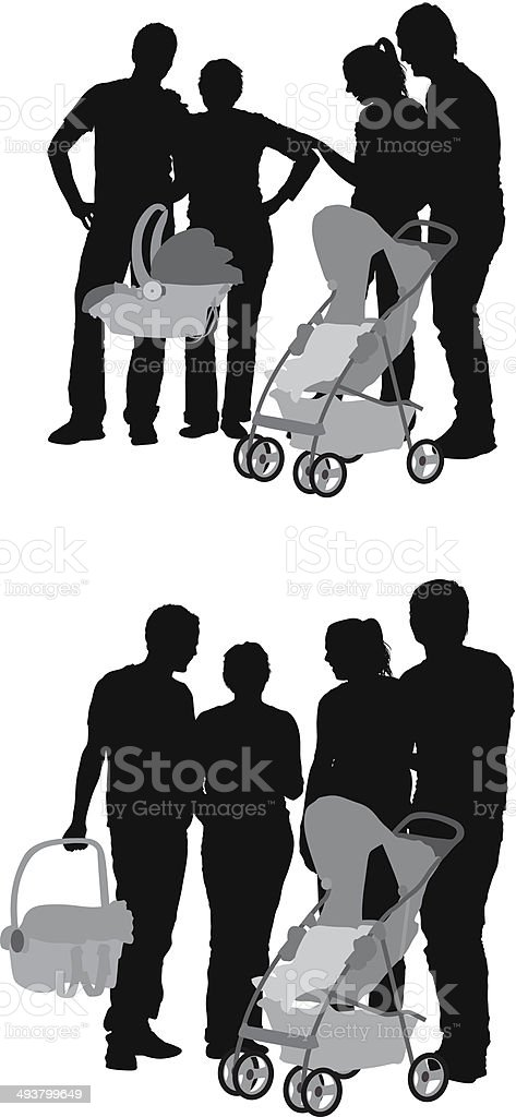 Parents with baby stroller vector art illustration
