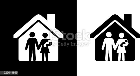 istock Parents with Child Under a House Roof Icon 1225044655
