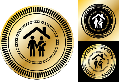 Parents with Child Under a House Roof Icon