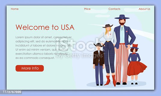 Parents with Children in Bright American Costume. Vector Illustration. Traveling Different Countries. Tourist Voyage Details and Landmarks Country. Travel Agency Offers. Welcome to USA. Family in Hats