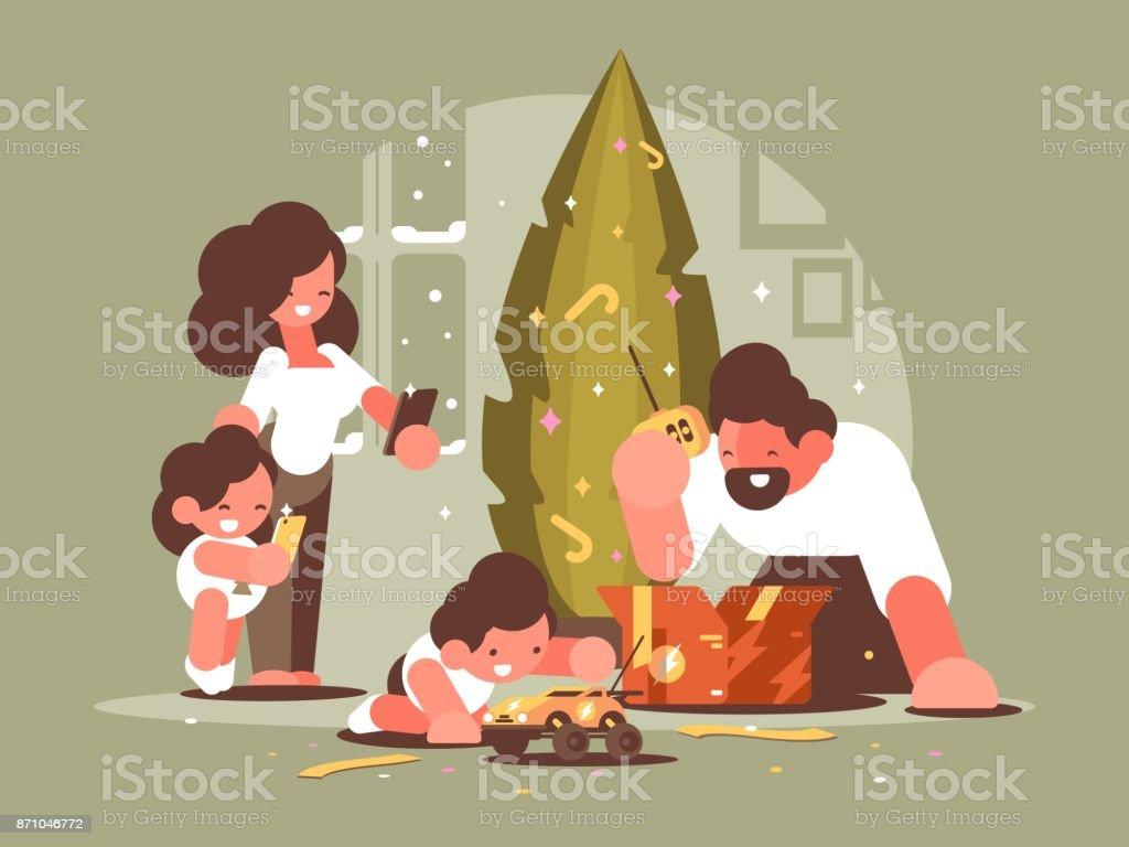 Eltern Mit Kindern öffnen Weihnachtsgeschenke Stock Vektor Art und ...