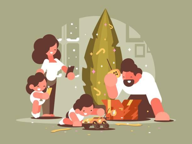 bildbanksillustrationer, clip art samt tecknat material och ikoner med föräldrar med barn öppna julklappar - christmas gift family
