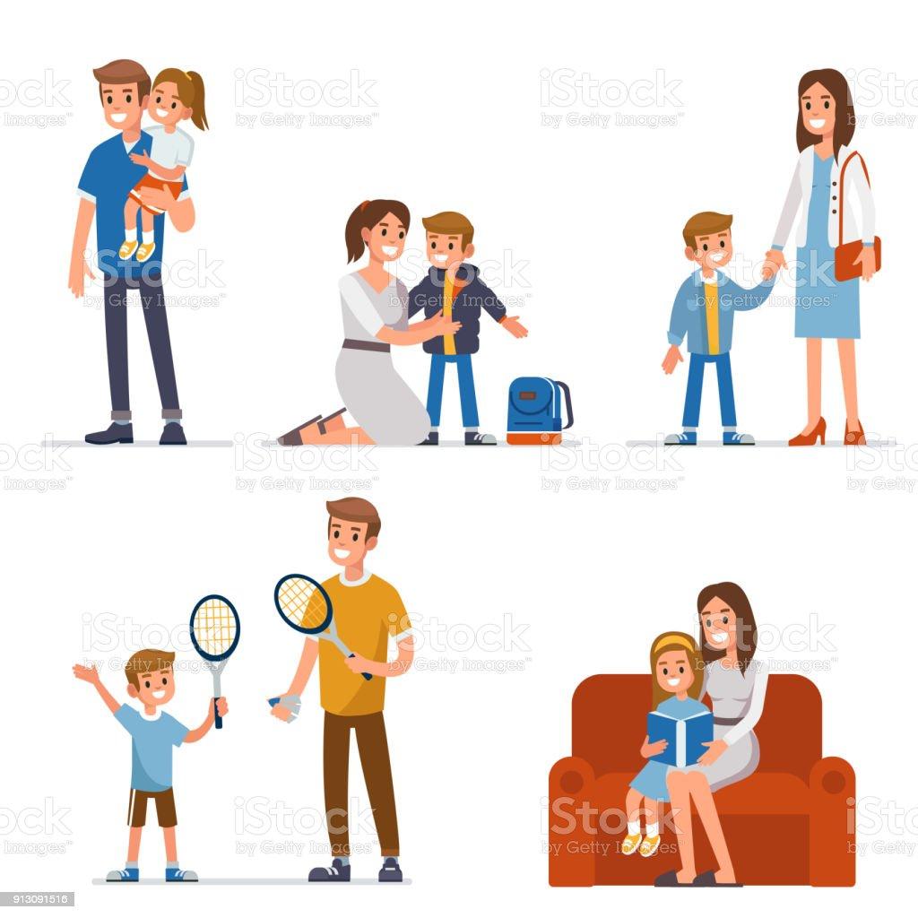 çocuklu aileler vektör sanat illüstrasyonu