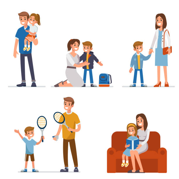 parents with children Parents with children spend leisure together.  Flat style vector illustration isolated on white background. daughter stock illustrations