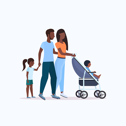 parents with daughter and toddler son in stroller walking outdoor african american family parenthood concept full length