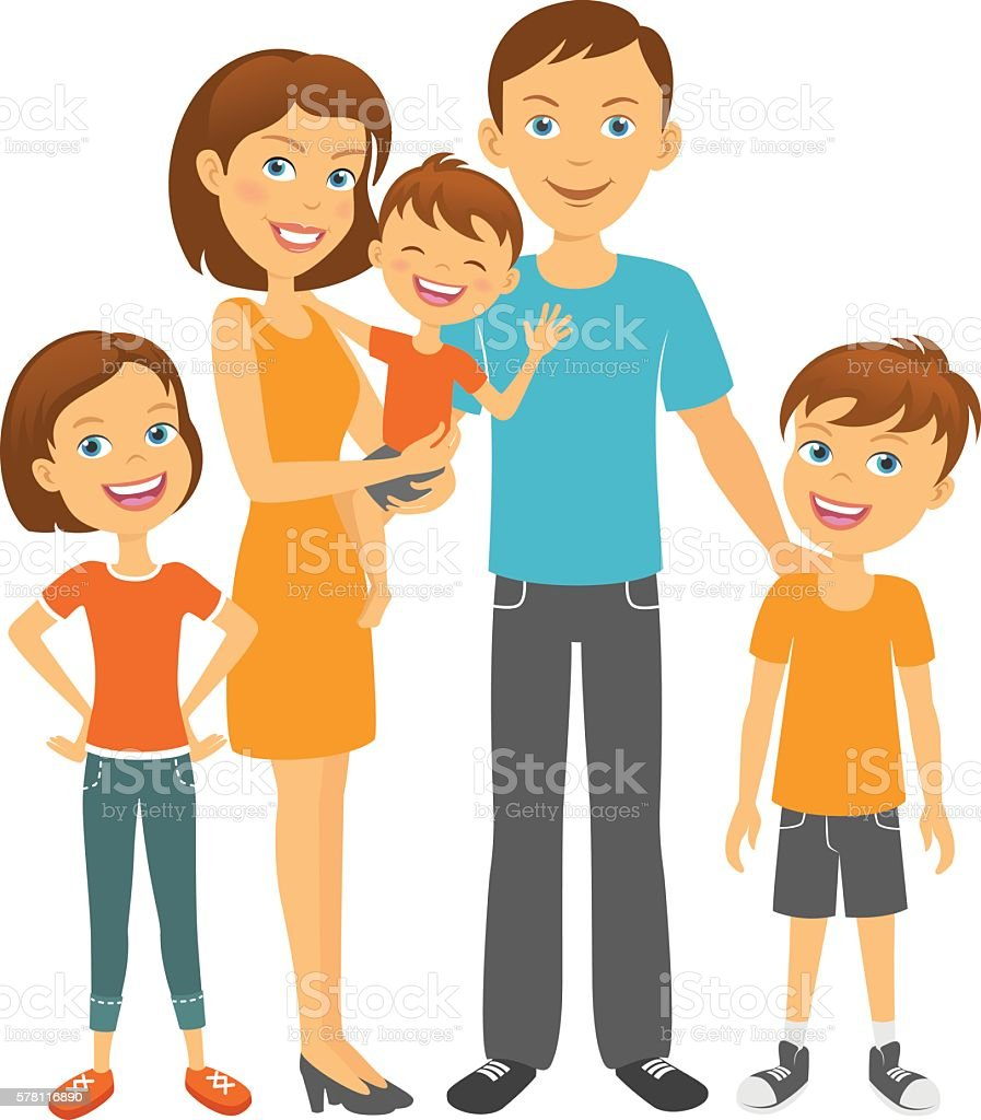 Parents With Kids Happy Family Mother And Father With Children Vector Art  Illustration