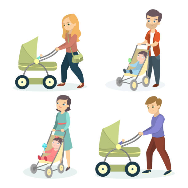 Parents with strollers. Parents with strollers. Mothers and fathers walk with children. baby carriage stock illustrations