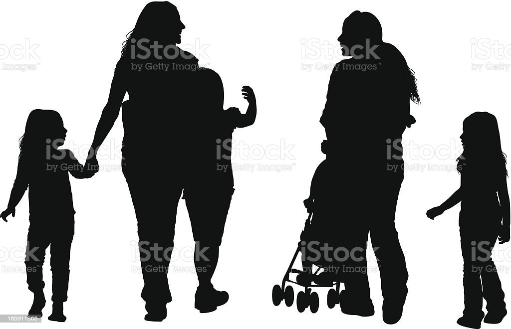 Parents with their children vector art illustration